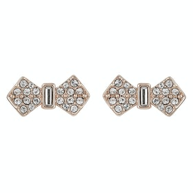 Ted Baker Sersi Solitaire Pave Bow Earrings - Rose Gold Crystal
