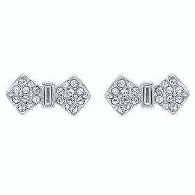 Ted Baker Sersi Solitaire Pave Bow Earrings - Silver Crystal