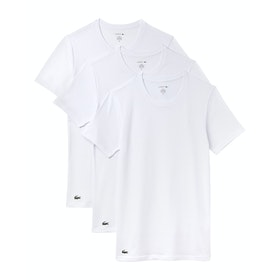 Lacoste Crew Neck Essentials Multi Pack Loungewear Tops - White