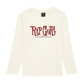 T-Shirt à Manche Longue Rip Curl Typo Boy - Off White