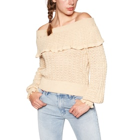 Free People Crazy In Love Ruffle Dame Sweater - Lemon