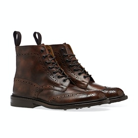Trickers Stow Museum Calf Stiefel - Dark Brown