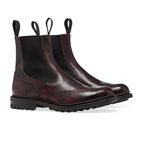 Trickers Made In England Henry Chelsea Brogue Detail Herren Stiefel - Burgundy