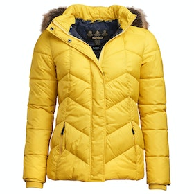 Barbour Downhall Quilt Ladies Jacket - Sulphur Yellow Navy