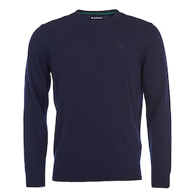 Barbour Essential Lambswool Crew Mens Sweater - Navy