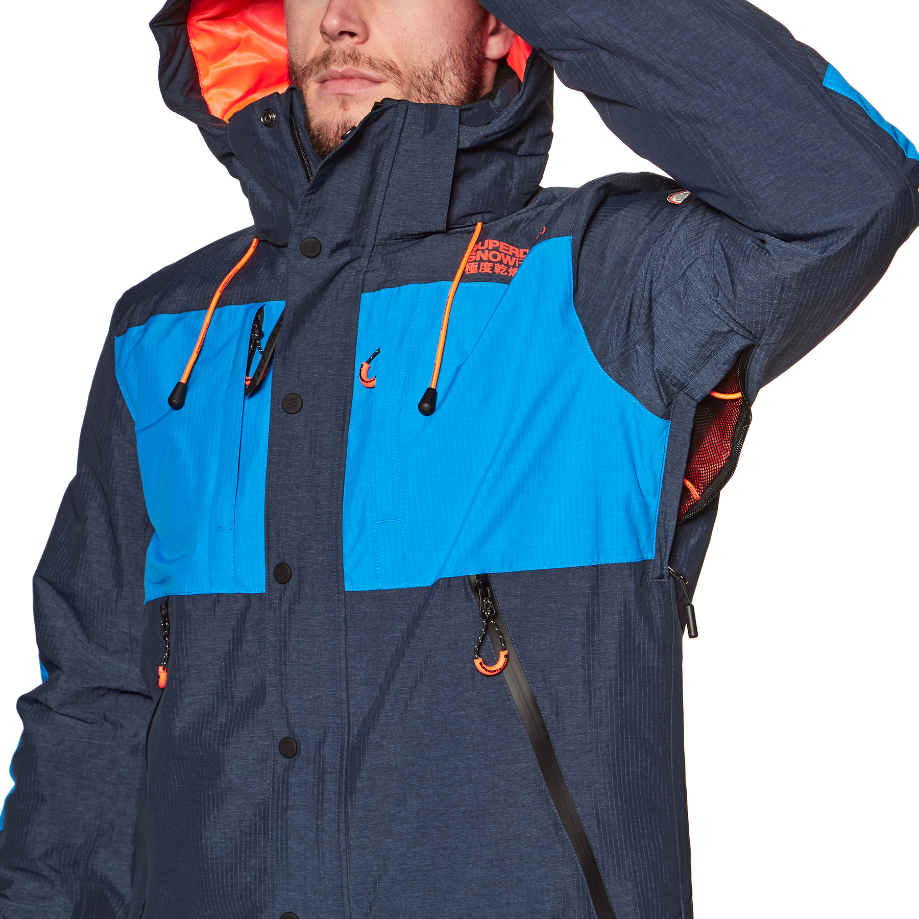 Blouson Ski Superdry Sd Mountain Vortex Navy Marl Acid Cobalt