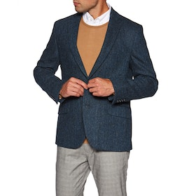 Country Attire 100% Harris Tweed Jacke - Blue Herringbone