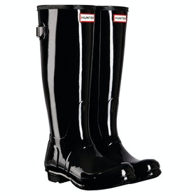 Hunter Original Back Adjustable Gloss Ladies Wellies - Black