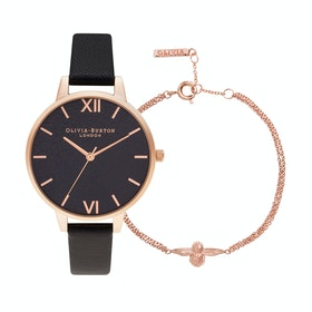 Olivia Burton Glitter Dial And Classic Chain Bracelet Womens Jewellery Gift Set - Rose Gold