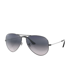Ray-Ban Aviator Large Metal Sunglasses - Gunmetal~crystal Polar Blue Grad.grey