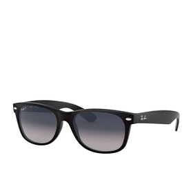 Ray-Ban New Wayfarer Sunglasses - Matte Black~polar Blue Grad. Grey