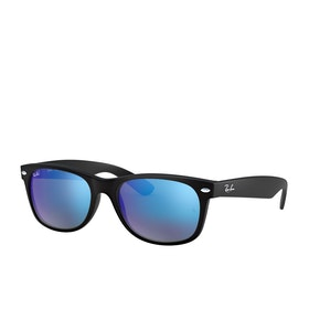 Ray-Ban New Wayfarer Sunglasses - Rubber Black~grey Mirror Blue