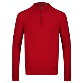 Hackett Lambswool Zip Sweater - Cherry