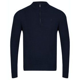 Hackett Lambswool Zip Sweater - Navy