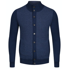 Hackett Contrast Front Panel Wool Cardigan - Denim