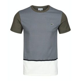 Lacoste Check Paneled Patchwork Kurzarm-T-Shirt - Geode Multico Baobab