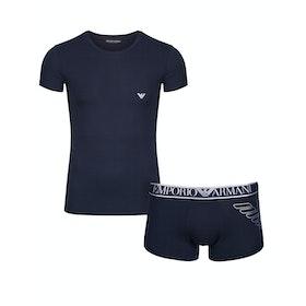 Emporio Armani Stretch Cotton Knit Pyjamas - Marine