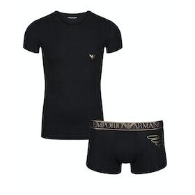 Emporio Armani Stretch Cotton Knit Pyjamas - Nero