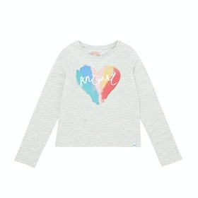 Animal Bow Girls Long Sleeve T-Shirt - Vanilla Cream Marl