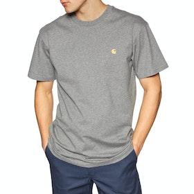 Carhartt Chase Short Sleeve T-Shirt - Dark Grey Heather / Gold