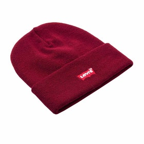 Levi's Red Batwing Embroidered Slouchy Beanie - Dark Bordeaux