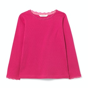 White Stuff Poppy Pointelle Girls Long Sleeve T-Shirt - Pretty Pin