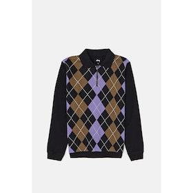 Stussy Argyle Zip LS Polo Sweatshirt - Black