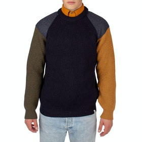 Peregrine Made In England Funky Sweater - Navy Olive Wheat
