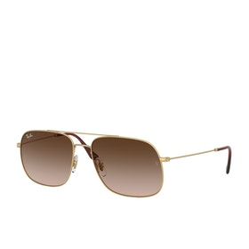 Ray-Ban Andrea Sunglasses - Rubber Gold~brown Gradient Dark Brown