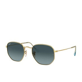 Ray-Ban Hexagonal Sunglasses - Gold~blue Gradient Grey