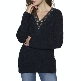 Superdry Lannah Vee Cable Knit Womens Sweater - Navy