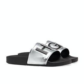 BOSS Timeout Logo Women's Sliders - Silver