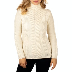Peregrine Made In England Aran Funnel Neck Ladies Sweater - Ecru