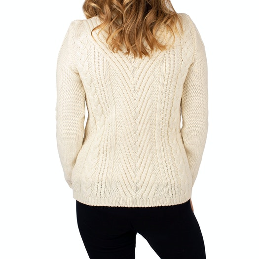 Peregrine Made In England Aran Funnel Neck Ladies Sweater