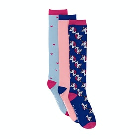 Derby House Bamboo Cotton Unicorn Pack of 3 Ladies Socks - Dazzling Blue Fandango Pink