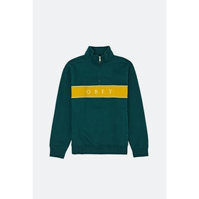 Obey Deal Mock Neck Sweatshirt - Deep Teal Multi
