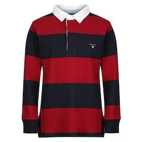 Gant Original Barstripe Kid's Rugby Top - Mahogany Red