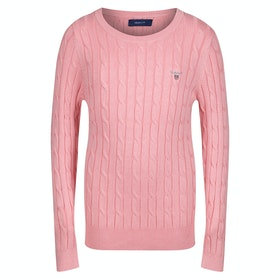 Gant Stretch Cotton Cable Crew Pullover - Summer Rose
