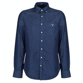 Gant The Indigo Reg Shirt - Dark Indigo