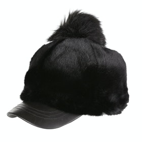 UGG Faux Fur With Pom Baseball Cap - Black