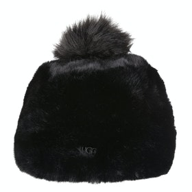 UGG Faux Fur With Pom Beanie - Black
