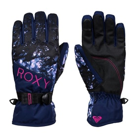 Roxy Jetty Snow Gloves - Medieval Blue Sparkles