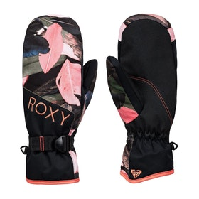 Roxy Jetty Mitt Womens Snow Gloves - Living Coral Plumes