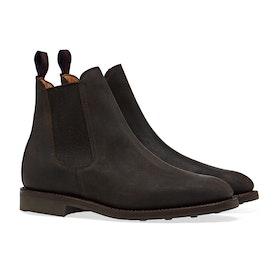 Sanders Kenia Waxy Suede Rubber Stud Sole Chelsea Boots - Dark Brown