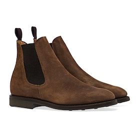 Sanders Snuff Waxy Suede Rubber Stud Sole Chelsea Boots - Snuff