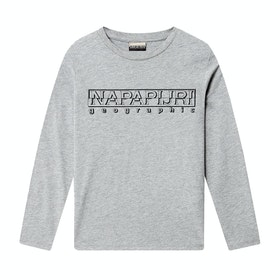 Napapijri K Soli Ls Kids Long Sleeve T-Shirt - Med Grey Mel