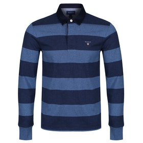 Gant The Original Barstripe Heavy Rugger Rugby Top - Marine Melange
