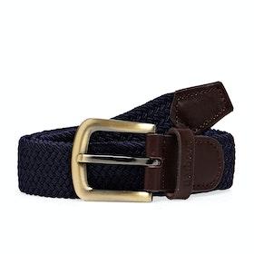 Barbour Stretch Webbing Leather Men's Web Belt - Navy