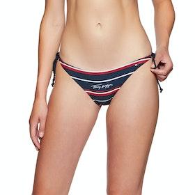 Tommy Hilfiger String Side Tie Cheeky Bikini Bottoms - Stripe Navy Blazer