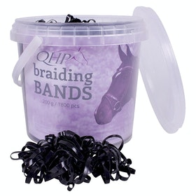 QHP Boxed Wide Rubber Plaiting Band - Black